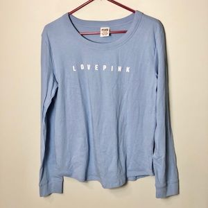 Victoria Secret Pink Blue long sleeve tee T-shirt